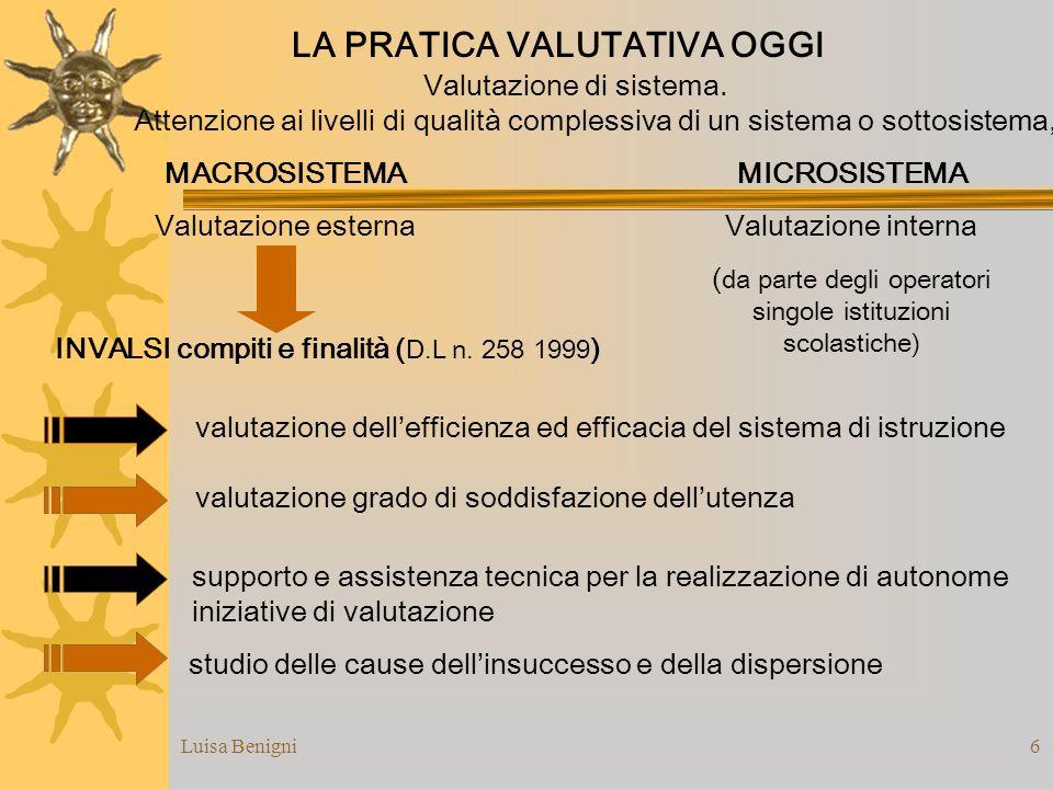 Luisa Benigni6 studio delle cause dellinsuccesso e della dispersione LA PRATICA VALUTATIVA OGGI Valutazione di sistema. Attenzione ai livelli di quali