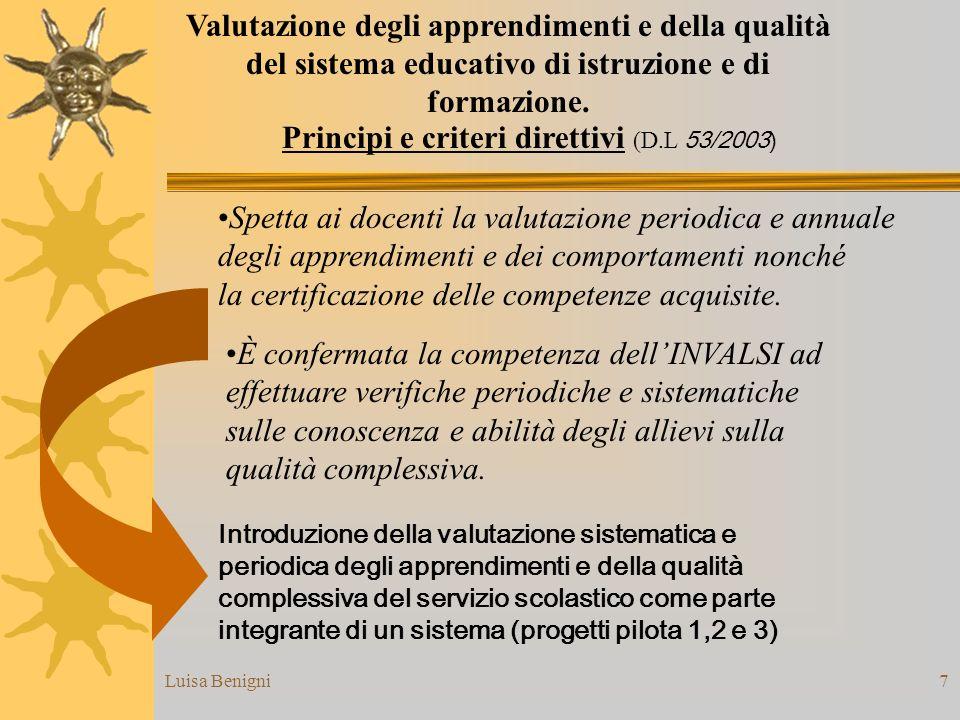 Luisa Benigni7 Valutazione degli apprendimenti e della qualità del sistema educativo di istruzione e di formazione. È confermata la competenza dellINV