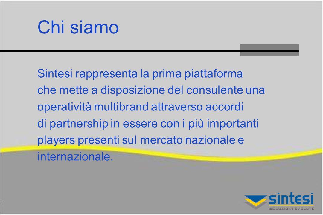 Chi siamo Sintesi rappresenta la prima piattaforma che mette a disposizione del consulente una operatività multibrand attraverso accordi di partnership in essere con i più importanti players presenti sul mercato nazionale e internazionale.
