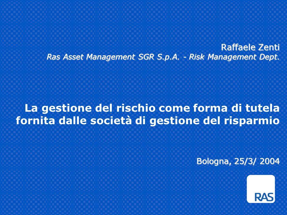 Raffaele Zenti Ras Asset Management SGR S.p.A. - Risk Management Dept. Bologna, 25/3/ 2004 Raffaele Zenti Ras Asset Management SGR S.p.A. - Risk Manag