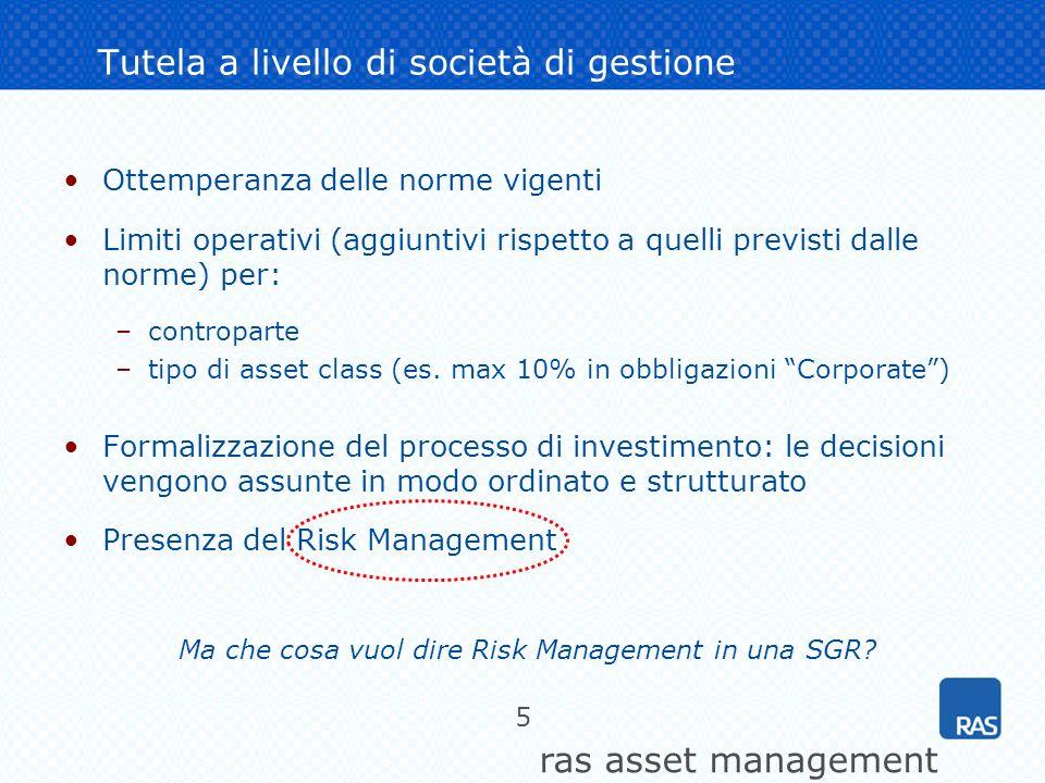 ras asset management 5 Tutela a livello di società di gestione Ottemperanza delle norme vigenti Limiti operativi (aggiuntivi rispetto a quelli previst