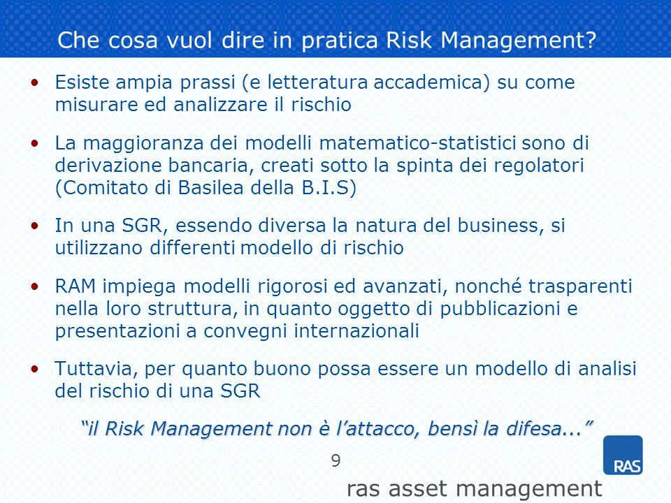 ras asset management 10 Un esempio: analisi del rischio di una gestione a capitale garantito Obiettivo = conservare il capitale (Rendimento > 0%) Si analizzano le distribuzioni di probabilità di due ipotetici portafogli 0.0% 1.0% 2.0% 3.0% 4.0% 5.0% 6.0% -4.3%-3.1% -1.9% -0.7% 0.5% 1.7% 2.9% 4.1%5.3%6.5%7.7%8.9% 10.1% 11.3%12.5% 13.7% 14.9% 16.1% 17.3% Rendimenti possibili da oggi ad 1 mese Probabilità di accadimento Portafoglio che ex-ante rispetta la condizione Rendimento > 0% Portafoglio che ex-ante NON rispetta la condizione Rendimento > 0%