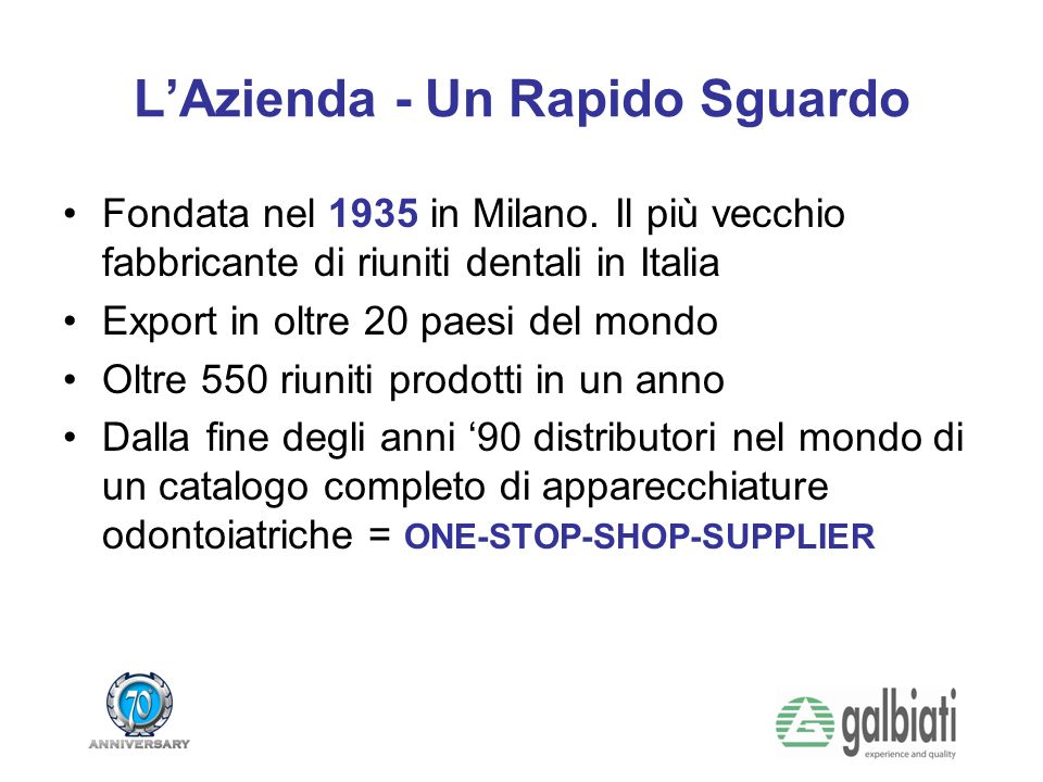 LAzienda - Un Rapido Sguardo Fondata nel 1935 in Milano.