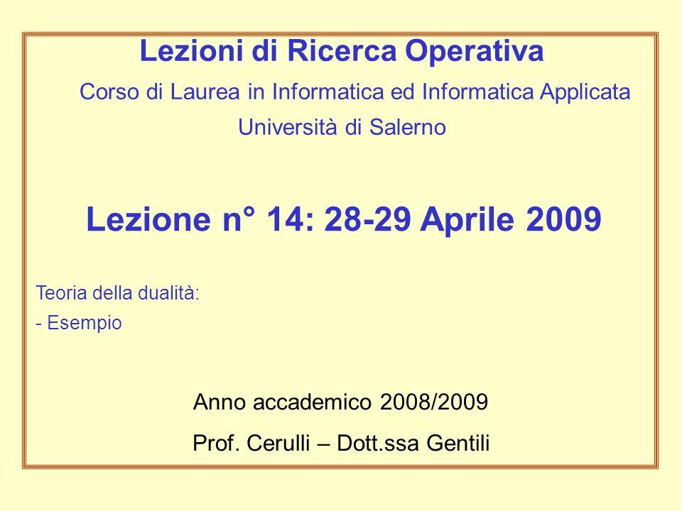 Lezione n° 14: 28-29 Aprile 2009 Teoria della dualità: - Esempio Anno accademico 2008/2009 Prof.