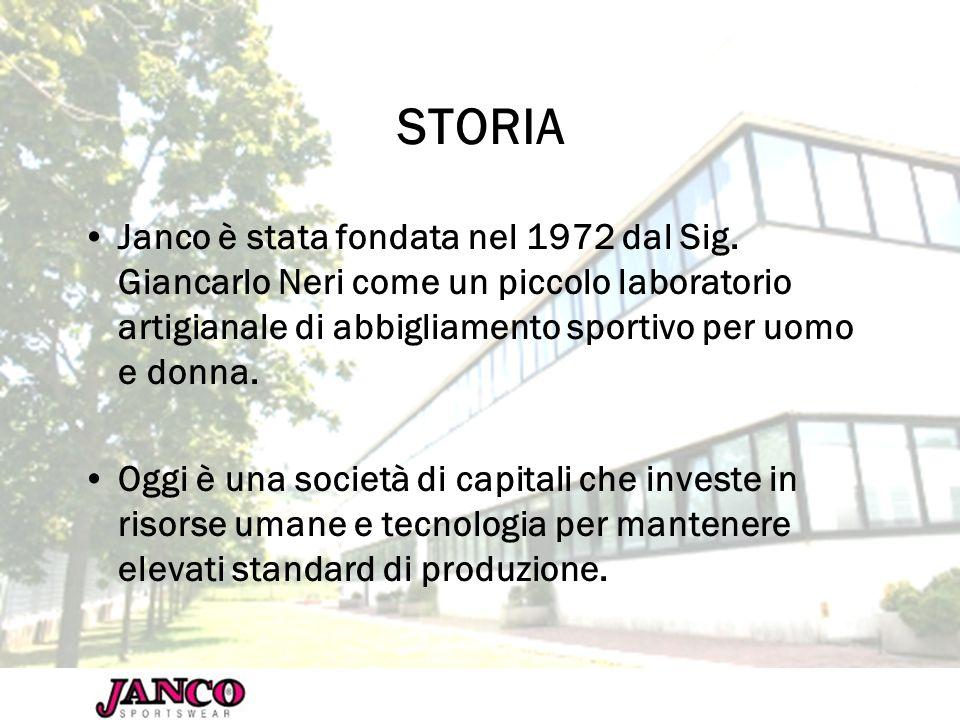 STORIA Janco è stata fondata nel 1972 dal Sig. Giancarlo Neri come un piccolo laboratorio artigianale di abbigliamento sportivo per uomo e donna. Oggi