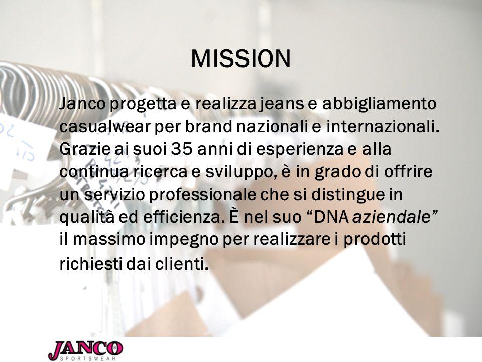 MISSION Janco progetta e realizza jeans e abbigliamento casualwear per brand nazionali e internazionali. Grazie ai suoi 35 anni di esperienza e alla c