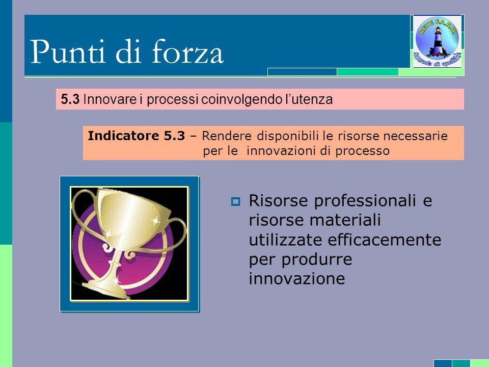 Punti di forza Risorse professionali e risorse materiali utilizzate efficacemente per produrre innovazione 5.3 Innovare i processi coinvolgendo lutenza Indicatore 5.3 – Rendere disponibili le risorse necessarie per le innovazioni di processo