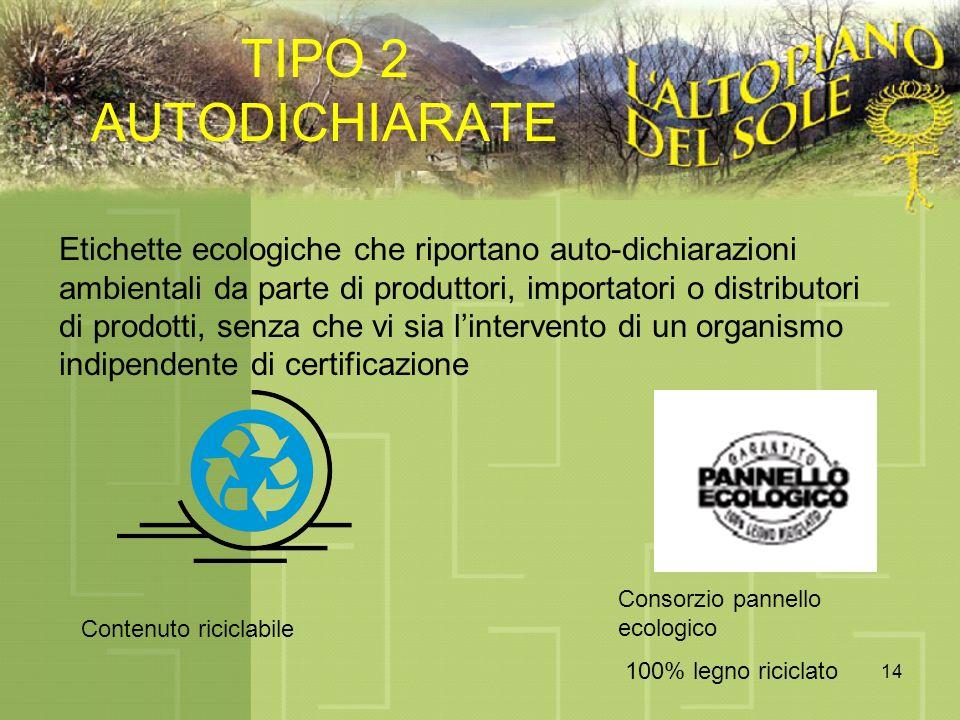 14 TIPO 2 AUTODICHIARATE Etichette ecologiche che riportano auto-dichiarazioni ambientali da parte di produttori, importatori o distributori di prodotti, senza che vi sia lintervento di un organismo indipendente di certificazione Contenuto riciclabile Consorzio pannello ecologico 100% legno riciclato