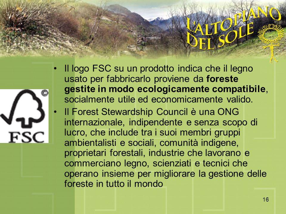 16 Il logo FSC su un prodotto indica che il legno usato per fabbricarlo proviene da foreste gestite in modo ecologicamente compatibile, socialmente ut