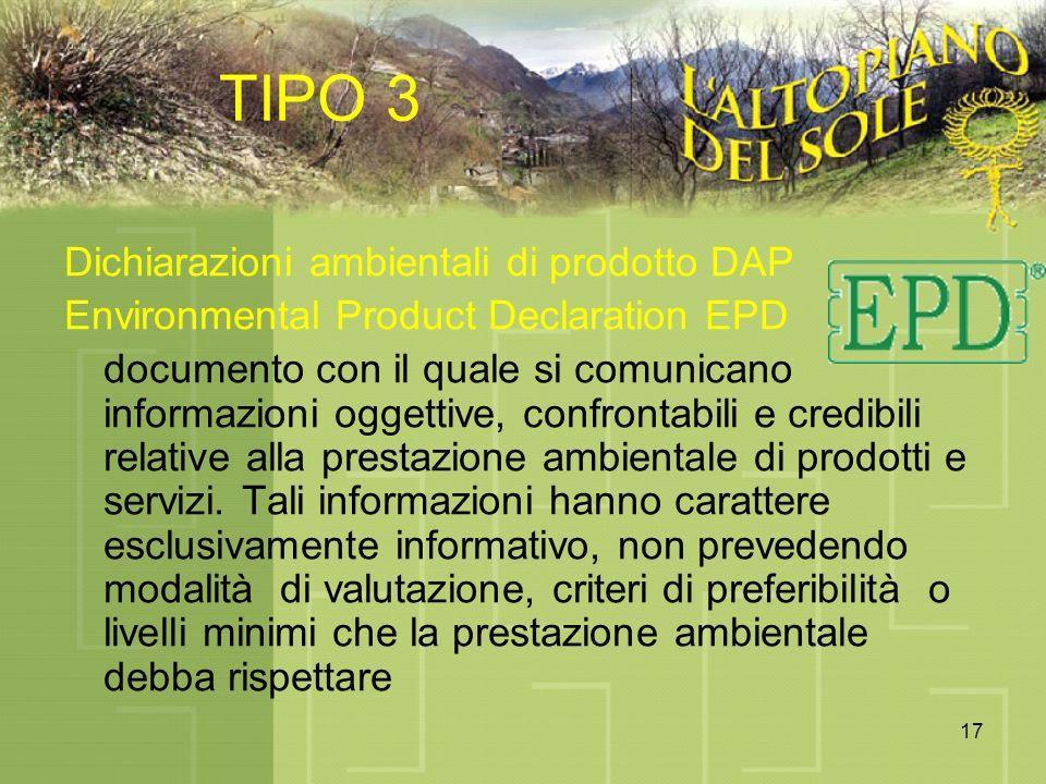 17 TIPO 3 Dichiarazioni ambientali di prodotto DAP Environmental Product Declaration EPD documento con il quale si comunicano informazioni oggettive,