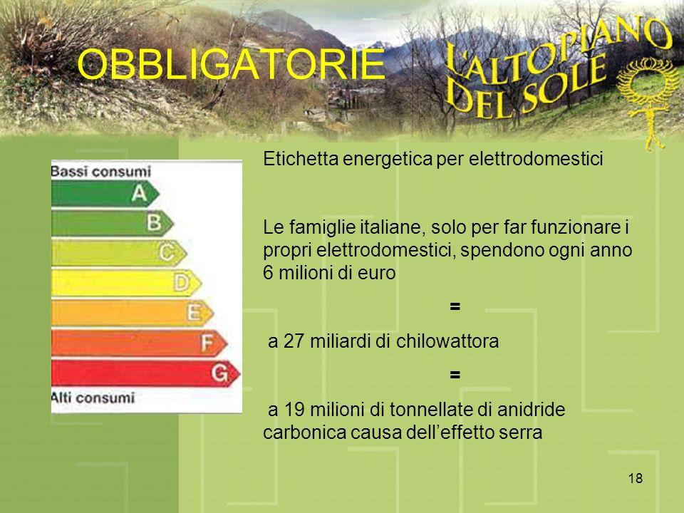 18 OBBLIGATORIE Etichetta energetica per elettrodomestici Le famiglie italiane, solo per far funzionare i propri elettrodomestici, spendono ogni anno 6 milioni di euro = a 27 miliardi di chilowattora = a 19 milioni di tonnellate di anidride carbonica causa delleffetto serra