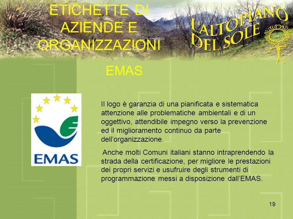 19 ETICHETTE DI AZIENDE E ORGANIZZAZIONI EMAS Il logo è garanzia di una pianificata e sistematica attenzione alle problematiche ambientali e di un ogg