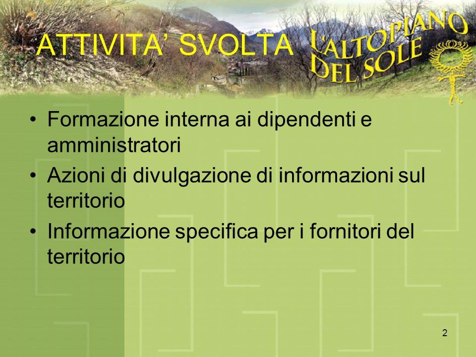 2 ATTIVITA SVOLTA Formazione interna ai dipendenti e amministratori Azioni di divulgazione di informazioni sul territorio Informazione specifica per i fornitori del territorio