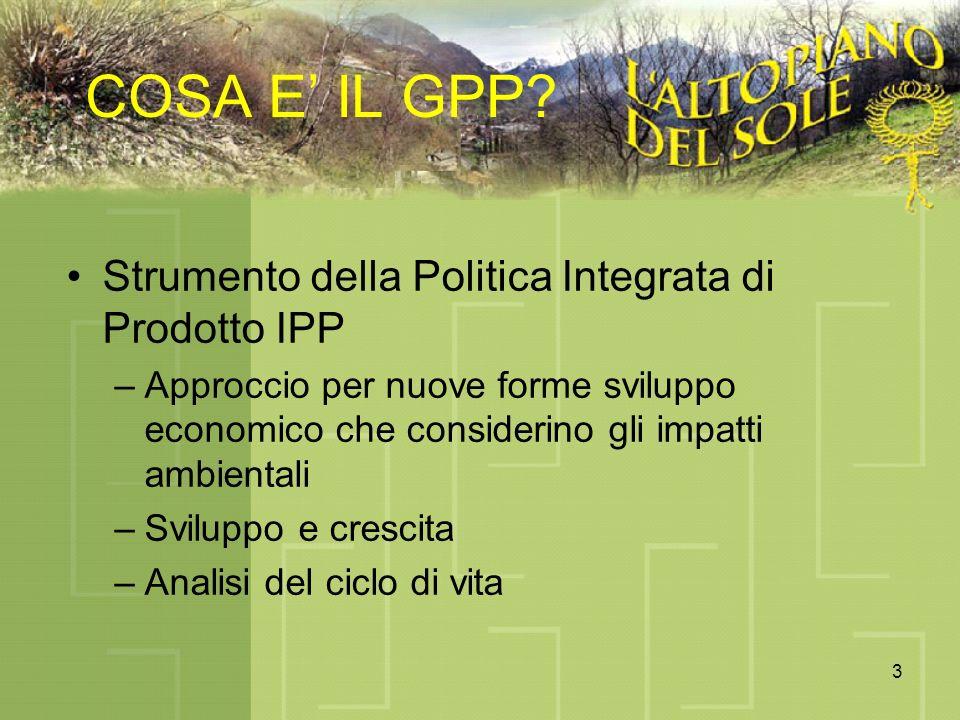 3 COSA E IL GPP? Strumento della Politica Integrata di Prodotto IPP –Approccio per nuove forme sviluppo economico che considerino gli impatti ambienta