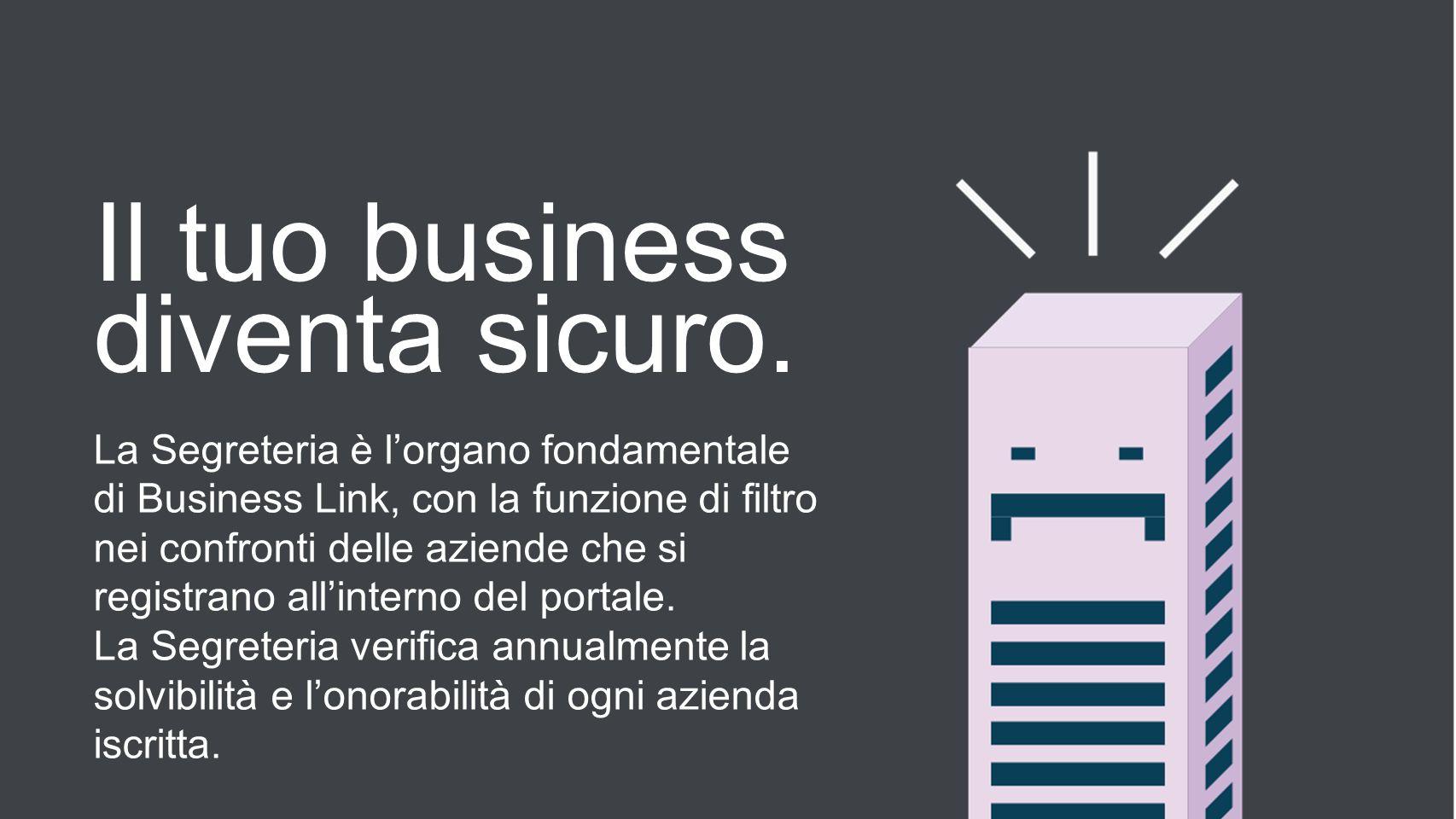 Il tuo business diventa sicuro. La Segreteria è lorgano fondamentale di Business Link, con la funzione di filtro nei confronti delle aziende che si re