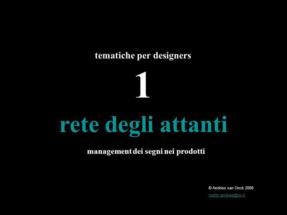 © Andries van Onck 2008 mailto:andries@tin.it rete degli attanti tematiche per designers 1 management dei segni nei prodotti