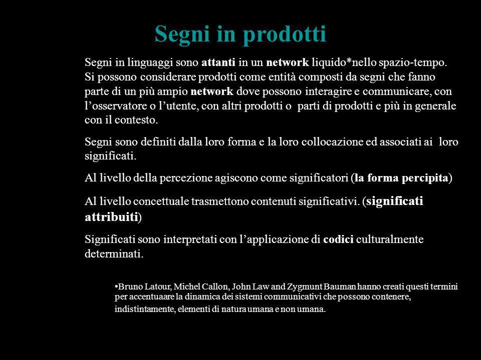 Segni in linguaggi sono attanti in un network liquido*nello spazio-tempo. Si possono considerare prodotti come entità composti da segni che fanno part