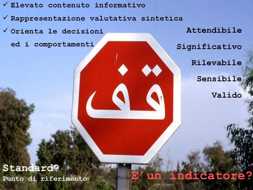 Ricci Picciloni Greta13 Elevato contenuto informativo Rappresentazione valutativa sintetica Orienta le decisioni ed i comportamenti Attendibile Significativo Rilevabile Sensibile Valido Standard.
