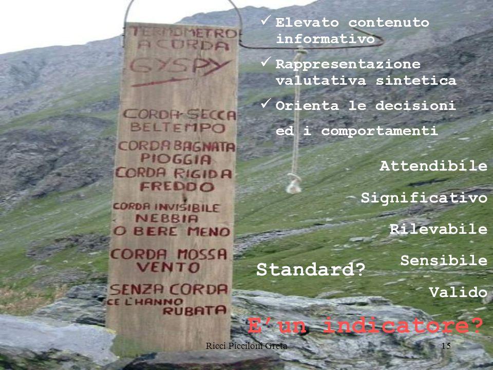 Ricci Picciloni Greta15 Elevato contenuto informativo Rappresentazione valutativa sintetica Orienta le decisioni ed i comportamenti Attendibile Significativo Rilevabile Sensibile Valido Standard.