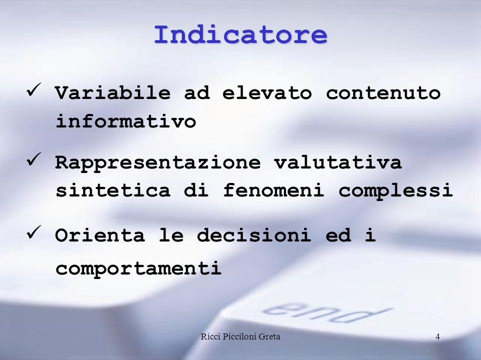 Ricci Picciloni Greta4 Indicatore Variabile ad elevato contenuto informativo Rappresentazione valutativa sintetica di fenomeni complessi Orienta le decisioni ed i comportamenti