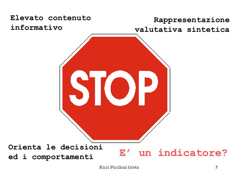 Ricci Picciloni Greta5 Elevato contenuto informativo Rappresentazione valutativa sintetica Orienta le decisioni ed i comportamenti E un indicatore?