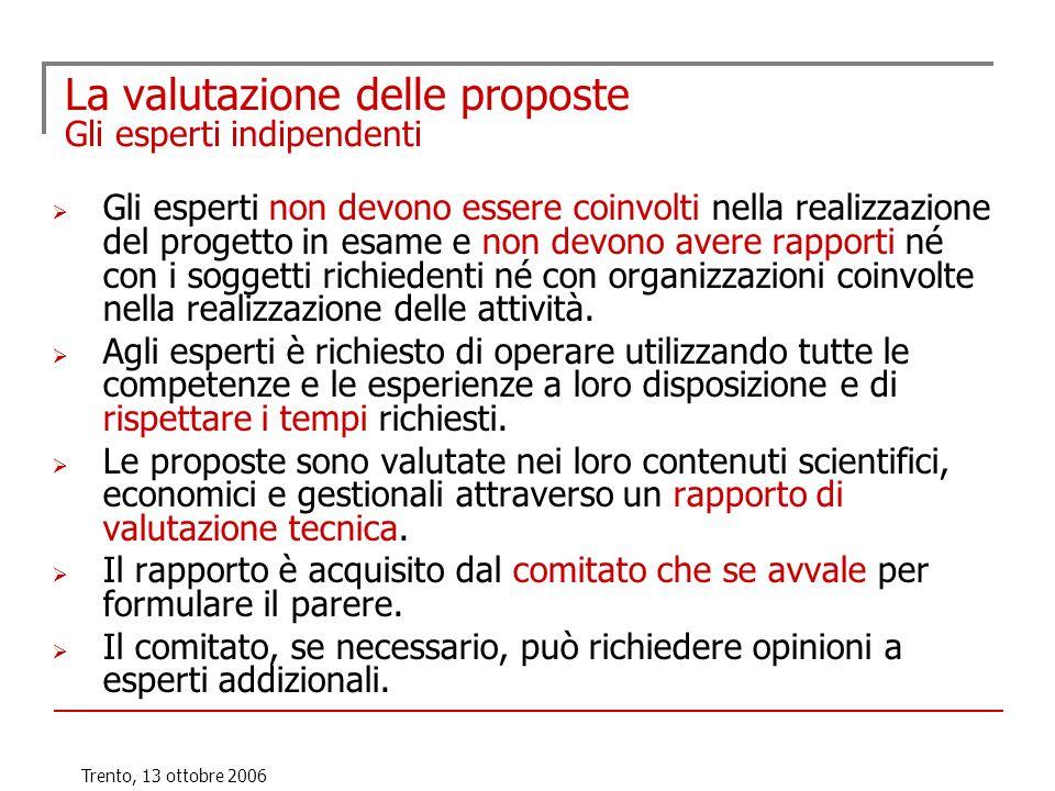 Trento, 13 ottobre 2006 La valutazione delle proposte Gli esperti indipendenti Gli esperti non devono essere coinvolti nella realizzazione del progett