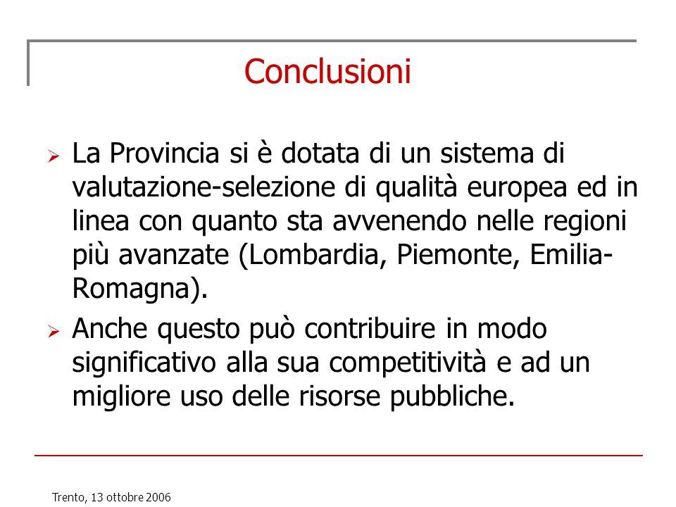 Trento, 13 ottobre 2006 Conclusioni La Provincia si è dotata di un sistema di valutazione-selezione di qualità europea ed in linea con quanto sta avve