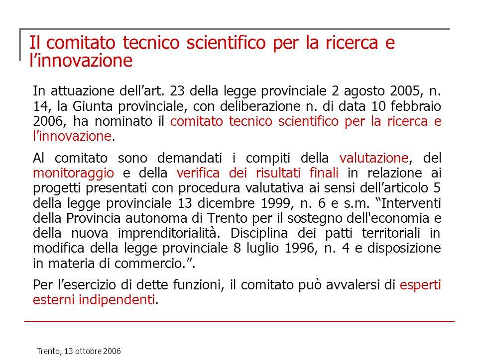 Trento, 13 ottobre 2006 Il comitato tecnico scientifico per la ricerca e linnovazione In attuazione dellart. 23 della legge provinciale 2 agosto 2005,