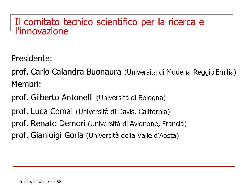 Trento, 13 ottobre 2006 Il comitato tecnico scientifico per la ricerca e linnovazione Presidente: prof. Carlo Calandra Buonaura (Università di Modena-