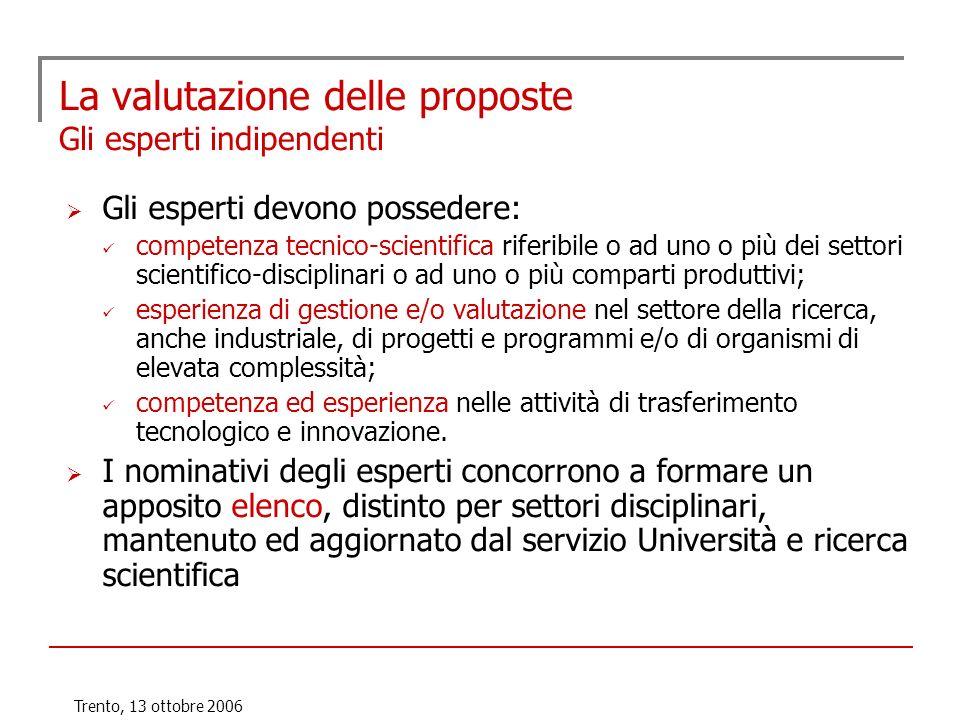 Trento, 13 ottobre 2006 La valutazione delle proposte Gli esperti indipendenti Gli esperti devono possedere: competenza tecnico-scientifica riferibile