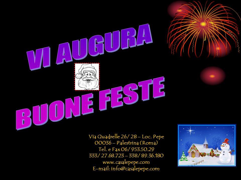 Via Quadrelle 26/ 28 – Loc.Pepe 00036 – Palestrina (Roma) Tel.