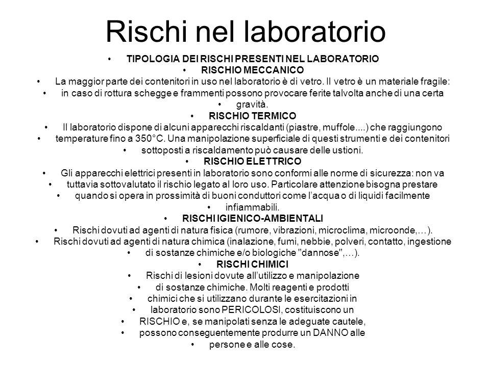 Rischi nel laboratorio TIPOLOGIA DEI RISCHI PRESENTI NEL LABORATORIO RISCHIO MECCANICO La maggior parte dei contenitori in uso nel laboratorio è di vetro.