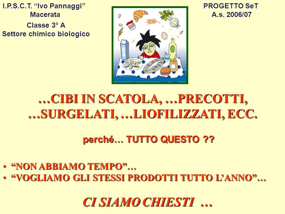 Classe 3° A Settore chimico biologico PROGETTO SeT A.s. 2006/07 I.P.S.C.T. Ivo Pannaggi Macerata …CIBI IN SCATOLA, …PRECOTTI, …SURGELATI, …LIOFILIZZAT