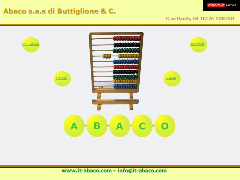 AB ACO Chi SiamoServiziProdottiClienti Abaco s.a.s di Buttiglione & C. C.so Dante, 64 10126 TORINO www.it-abaco.com – info@it-abaco.com
