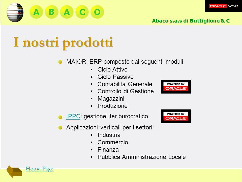 A BACO MAIOR: ERP composto dai seguenti moduli Ciclo Attivo Ciclo Passivo Contabilità Generale Controllo di Gestione Magazzini Produzione IPPCIPPC: ge
