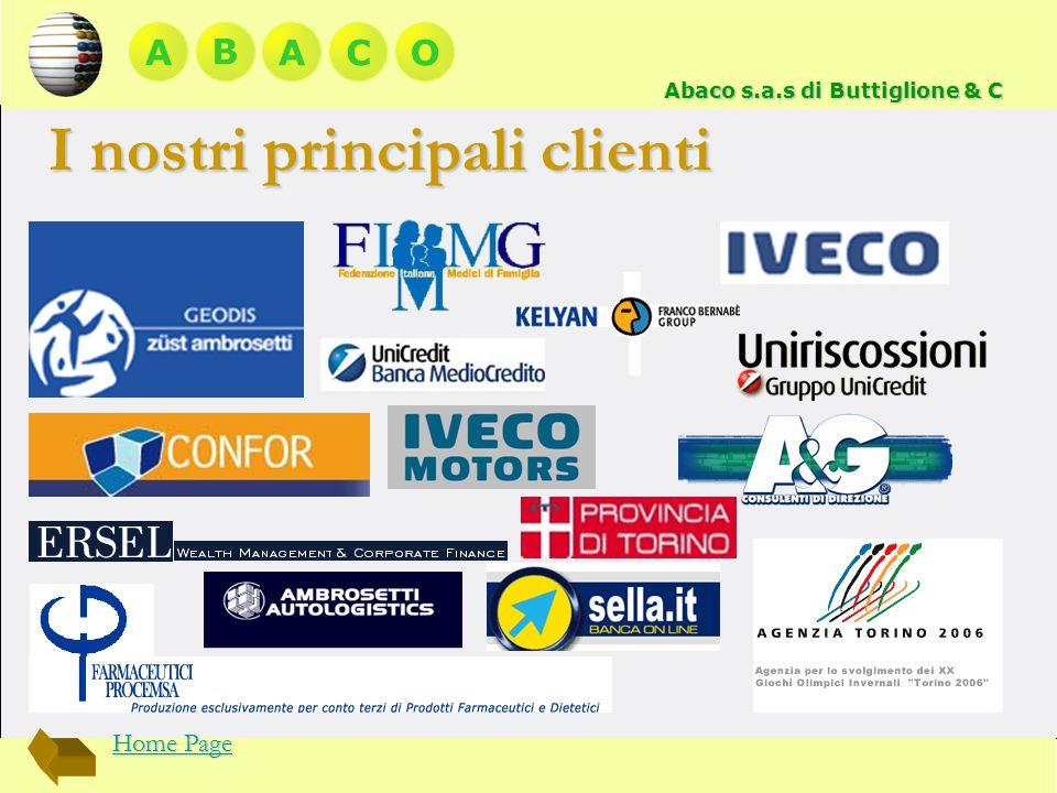 A BACO Abaco s.a.s di Buttiglione & C I nostri principali clienti Home Page Home Page