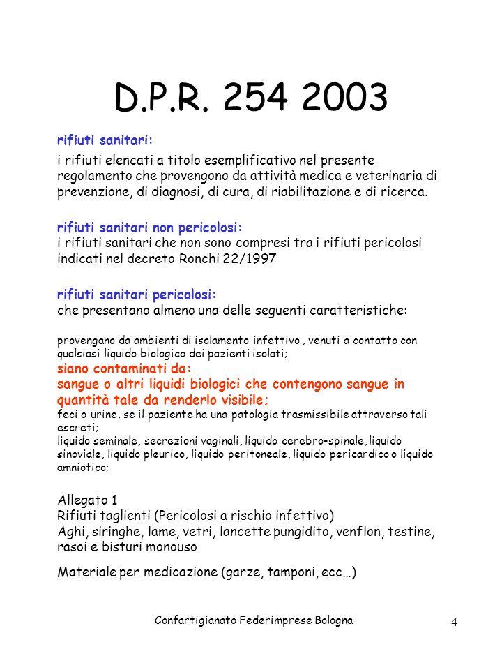 Confartigianato Federimprese Bologna 4 D.P.R. 254 2003 rifiuti sanitari: i rifiuti elencati a titolo esemplificativo nel presente regolamento che prov