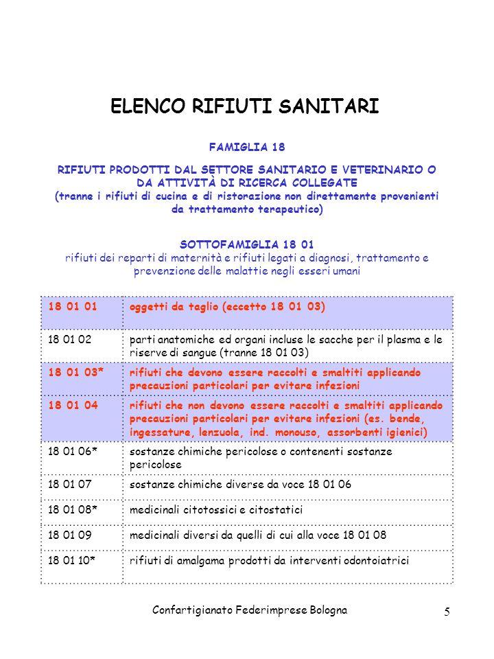 Confartigianato Federimprese Bologna 5 ELENCO RIFIUTI SANITARI FAMIGLIA 18 RIFIUTI PRODOTTI DAL SETTORE SANITARIO E VETERINARIO O DA ATTIVITÀ DI RICER
