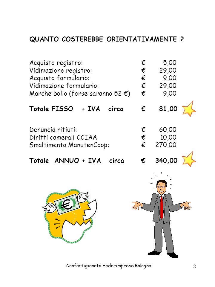 Confartigianato Federimprese Bologna 8 QUANTO COSTEREBBE ORIENTATIVAMENTE ? Acquisto registro:5,00 Vidimazione registro:29,00 Acquisto formulario:9,00