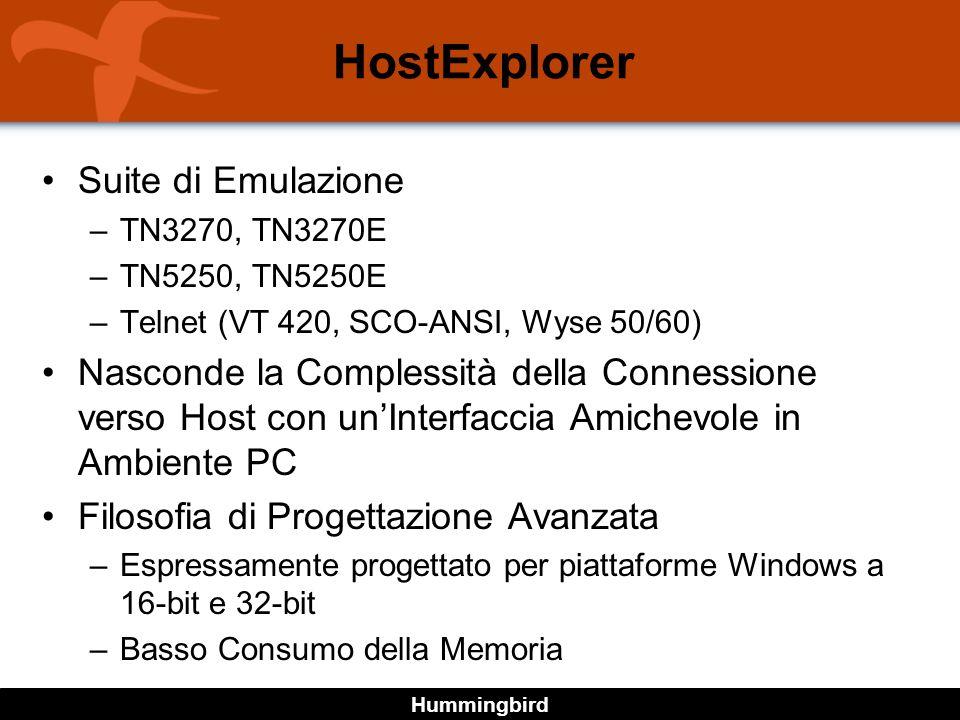 Hummingbird Suite di Emulazione –TN3270, TN3270E –TN5250, TN5250E –Telnet (VT 420, SCO-ANSI, Wyse 50/60) Nasconde la Complessità della Connessione verso Host con unInterfaccia Amichevole in Ambiente PC Filosofia di Progettazione Avanzata –Espressamente progettato per piattaforme Windows a 16-bit e 32-bit –Basso Consumo della Memoria HostExplorer