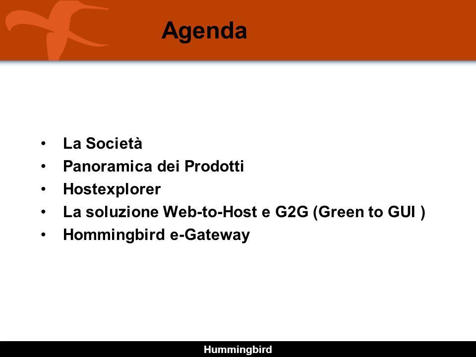 Hummingbird Agenda La Società Panoramica dei Prodotti Hostexplorer La soluzione Web-to-Host e G2G (Green to GUI ) Hommingbird e-Gateway