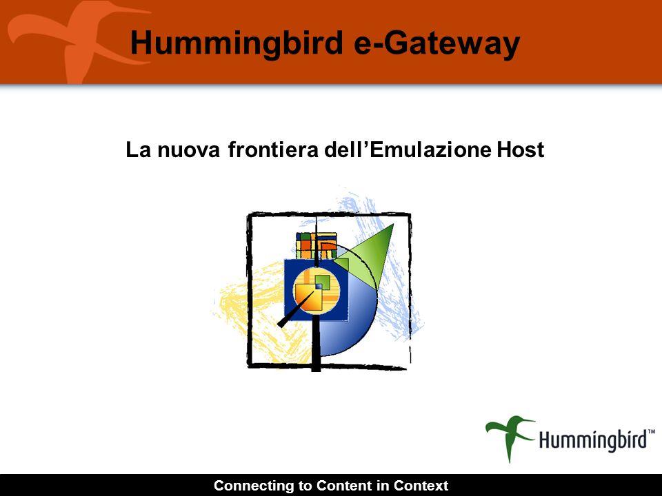 Connecting to Content in Context La nuova frontiera dellEmulazione Host Hummingbird e-Gateway