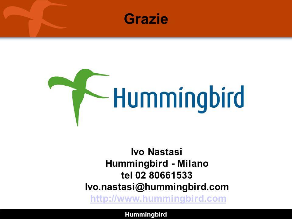 Hummingbird Ivo Nastasi Hummingbird - Milano tel 02 80661533 Ivo.nastasi@hummingbird.com http://www.hummingbird.com Grazie