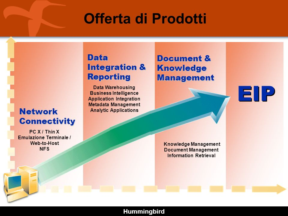 Hummingbird EIP Network Connectivity Data Integration & Reporting PC X / Thin X Emulazione Terminale / Web-to-Host NFS Data Warehousing Business Intel