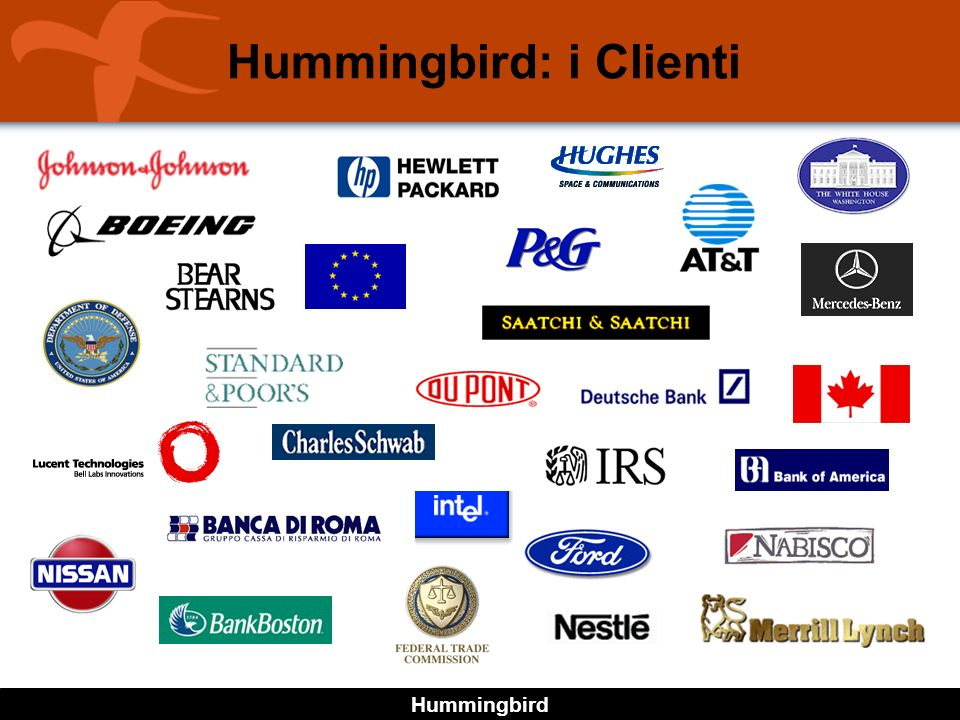 Hummingbird Hummingbird in Italia Presenza con filiale Italiana (uffici a Milano e Roma) 40,000 licenze di prodotti di connettività installate Supporto Tecnico locale Corsi di addestramento Supporto per lo studio di progetti