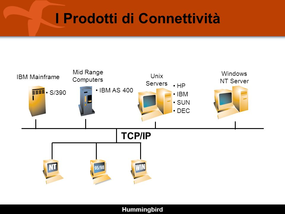 Hummingbird I Prodotti di Connettività TCP/IP Windows NT Server Unix Servers Mid Range Computers IBM Mainframe HP IBM SUN DEC IBM AS 400 S/390