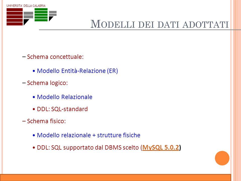 Corso di Basi di Dati Relazionali – Laboratorio UNIVERSITA' DELLA CALABRIA M ODELLI DEI DATI ADOTTATI – Schema concettuale: Modello Entità-Relazione (