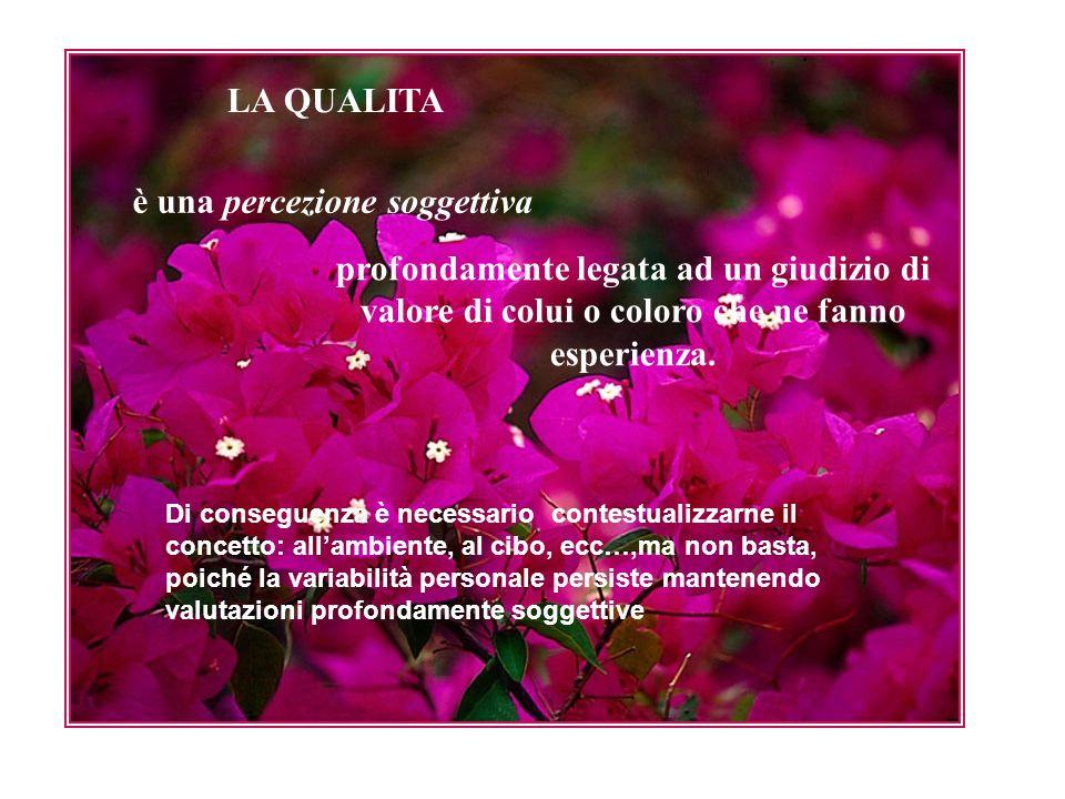 LA QUALITA è una percezione soggettiva profondamente legata ad un giudizio di valore di colui o coloro che ne fanno esperienza.