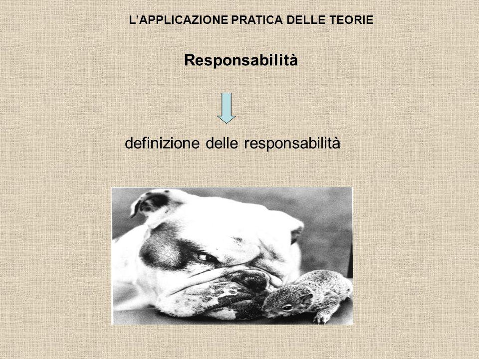 LAPPLICAZIONE PRATICA DELLE TEORIE definizione delle responsabilità Responsabilità