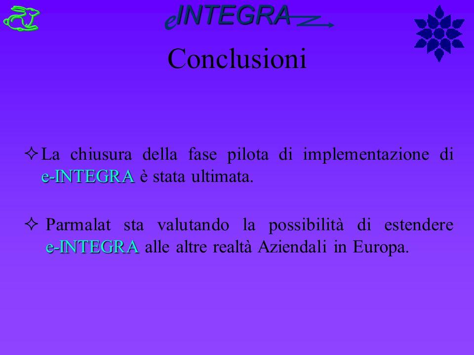 e-INTEGRA ²La chiusura della fase pilota di implementazione di e-INTEGRA è stata ultimata. e-INTEGRA ² Parmalat sta valutando la possibilità di estend